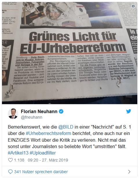 Tweet von Florian Neuhann - Bemerkenswert, wie die Bild in einer Nachricht auf S. 1 über die Urheberrechtsreform berichtet, ohne auch nur ein einziges Wort über die Kritik zu verlieren. Nicht mal das sonst unter Journalisten so beliebte Wort umstritten fällt