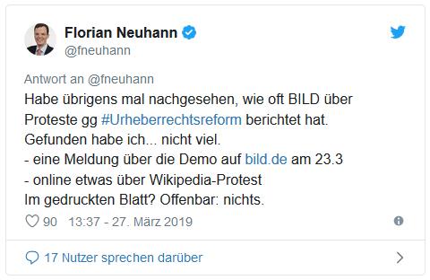 Weiterer Tweet von Florian Neuhann - Habe übrigens mal nachgesehen, wie oft Bild über Proteste gegen Urheberrechtsreform berichtet hat. Gefunden habe ich nicht viel. Eine Meldung über die Demo, online etwas über Wikipedia-Protest. Im gedruckten Blatt? Offenbar: nichts.