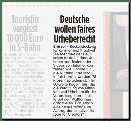 Ausriss Bild-Zeitung - Deutsche wollen faires Urheberrecht