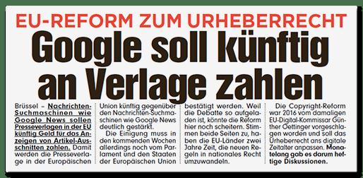 Ausriss Bild-Titelseite - EU-Reform zum Urheberrecht - Google soll künftig an Verlage zahlen