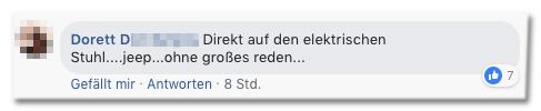 Screenshot eines Kommentars auf der Bild-Facebookseite - Direkt auf den elektrischen Stuhl, jepp, ohne großes reden