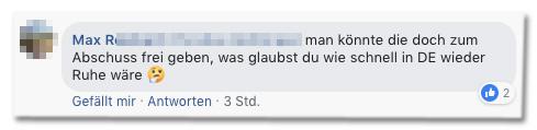 Screenshot eines Kommentars auf der Bild-Facebookseite - man könnte die doch zum Abschuss frei geben, was glaubst du wie schnell in DE wieder Ruhe wäre