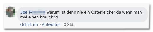 Screenshot eines Kommentars auf der Bild-Facebookseite - warum ist denn nie ein Österreicher da wenn man mal einen braucht?