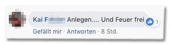 Screenshot eines Kommentars auf der Bild-Facebookseite - Anlegen und Feuer frei