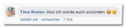 Screenshot eines Kommentars auf der Bild-Facebookseite - Also ich würde euch anzünden