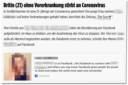Screenshot einer Meldung aus dem Bild-Corona-Liveticker zu dem Todesfall in Großbritannien. Dabei auch zu sehen: Dass die Bild-Redaktion das Facebook-Profil der Verstorbenen verlinkt hat