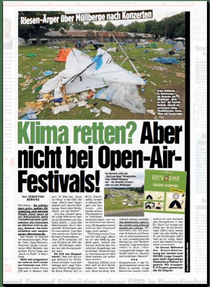 Ausriss Bild-Zeitung - Riesen-Ärger über Müllberge nach Konzerten - Klima retten? Aber nicht bei Open-Air-Festivals!