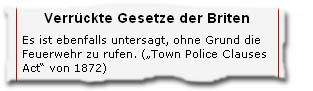 """Verrückte Gesetze der Briten -- Es ist ebenfalls untersagt, ohne Grund die Feuerwehr zu rufen. (""""Town Police Clauses Act"""" von 1872)"""