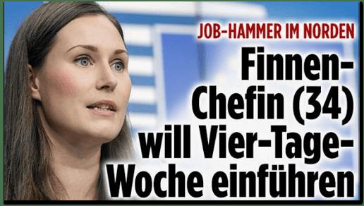 Screenshot Bild.de - Job-Hammer im Norden - Finnen-Chefin (34) will Vier-Tage-Woche einführen