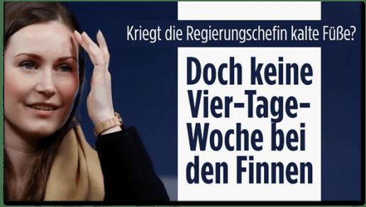 Screenshot Bild.de - Kriegt die Regierungschefin kalte Füße? Doch keine Vier-Tage-Woche bei den Finnen