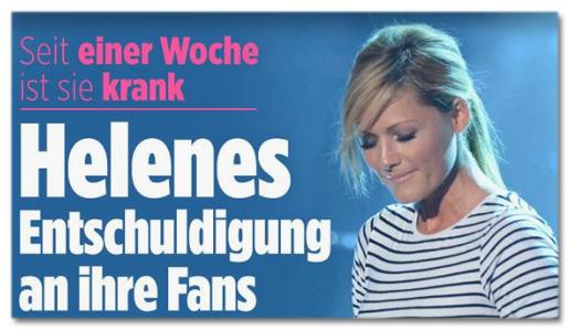 Screenshot Bild.de - Seit einer Woche ist sie krank - Helenes Entschuldigung an ihre Fans