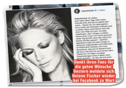 Ausriss Bild-Zeitung - Dankt ihren Fans für die guten Wünsche: Gestern meldete sich Helene Fischer wieder bei Facebook zu Wort