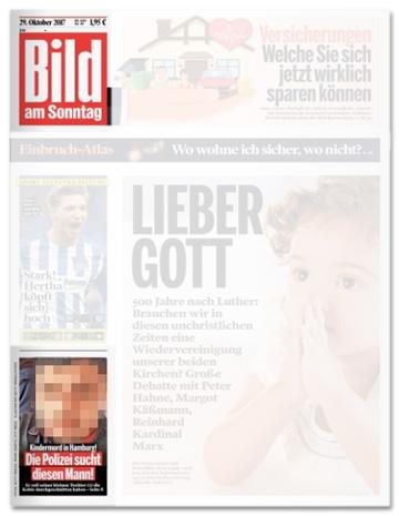 Ausrisse  Bild am Sonntag Titelseite - Kindermord in Hamburg - Die Polizei sucht diesen Mann