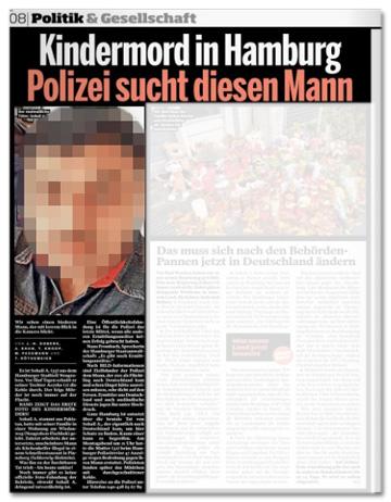 Ausrisse Bild am Sonntag Innenteil - Kindermord in Hamburg - Die Polizei sucht diesen Mann