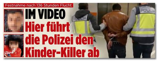 Screenshot Bild.de - Im Video - Hier führt die Polizei den Kinder-Killer ab
