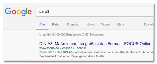 Screenshot Google mit Focus Online auf Platz eins der Suchtreffer, wenn man nach din a3 sucht