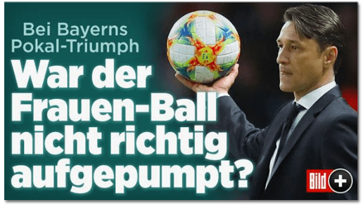 Screenshot Bild.de - Bei Bayerns Pokal-Triumph - War der Frauen-Ball nicht richtig aufgepumpt?