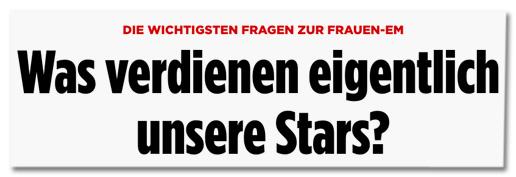 Ausriss von Bild.de - Die wichtigsten Fragen zur Frauen-EM - Was verdienen eigentlich unsere Stars?