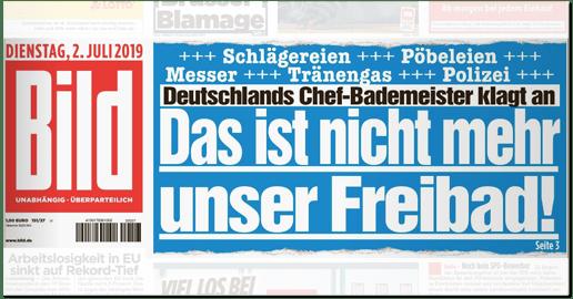 Ausriss Bild-Titelseite - Deutschlands Chef-Bademeister klagt an - Das ist nicht mehr unser Freibad!