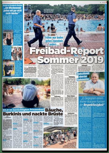 Ausriss Bild-Zeitung - Früher war baden gehen irgendwie anders - Freibad-Report Sommer 2019