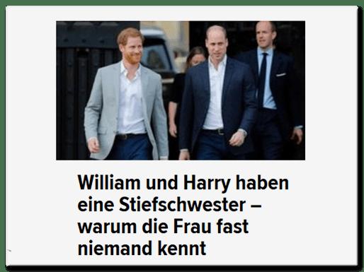 William und Harry haben eine Stiefschwester - warum sie fast niemand kennt