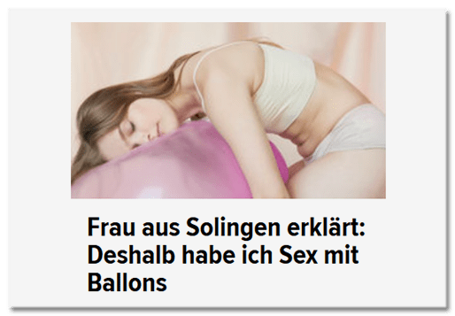 Frau aus Solingen erklärt: Deshalb habe ich Sex mit Ballons