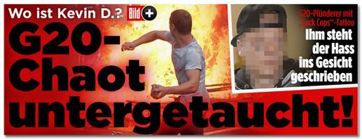 Screenshot Bild.de - G20-Plünderer mit Fuck Cops-Tattoo - Ihm steht der Hass ins Gesicht geschrieben - Dazu ein unverpixeltes Foto von Dimitri K