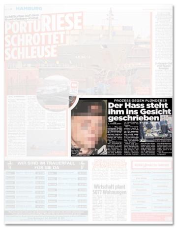 Ausriss Bild-Zeitung - Prozess gegen Plünderer - Der Hass steht ihm ins Gesicht geschrieben - Dazu ein unverpixeltes Foto von Dimitri K