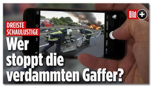 Screenshot Bild.de - Dreiste Schaulustige - Wer stoppt die verdammten Gaffer?