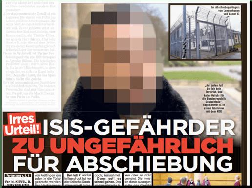 Ausriss Bild-Zeitung - Irres Urteil! ISIS-Gefährder zu ungefährlich für Abschiebung