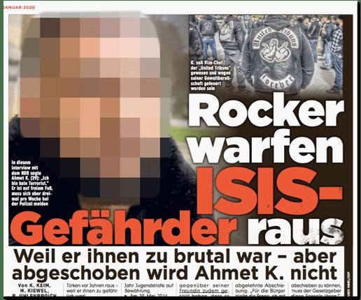 Ausriss Bild-Zeitung - Rocker warfen ISIS-Gefährder raus - Weil er ihnen zu brutal war - aber abgeschoben wird Ahmet K. nicht