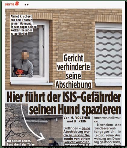 Ausriss Bild-Zeitung - Gericht verhinderte seine Abschiebung - Hier führt der ISIS-Gefährder seinen Hund spazieren