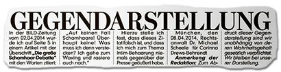 GEGENDARSTELLUNG - in der BILD-Zeitung vom 02.04.2014 wurde ich auf Seite 5 in einem Artikel mit der Überschrift