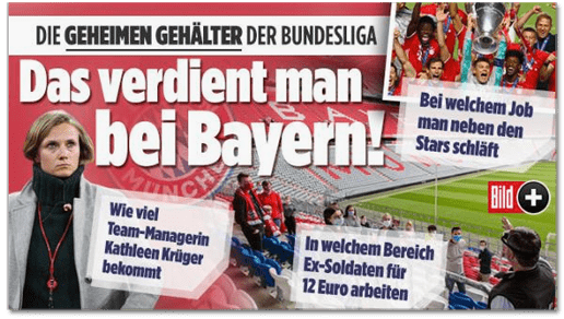 Screenshot Bild.de - Die geheimen Gehälter der Bundesliga - Bei welchem Job man neben den Stars schläft - Wie viel Team-Managerin Kathleen Krüger bekommt - In welchem Bereich Ex-Soldaten für zwölf Euro arbeiten - Das verdient man bei Bayern!