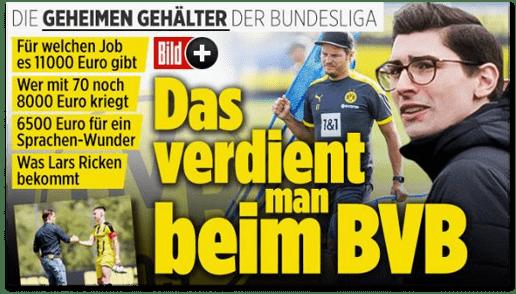 Screenshot Bild.de - Die geheimen Gehälter der Bundesliga - Für welchen Job es 11000 Euro gibt - Wer mit 70 noch 8000 Euro kriegt - 6500 Euro für ein Sprach-Wunder - Was Lars Ricken bekommt - Das verdient man beim BVB
