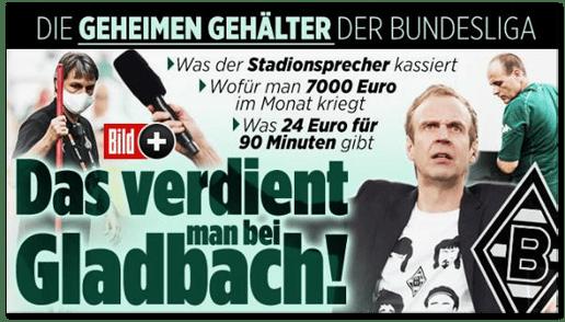 Screenshot Bild.de - Die geheimen Gehälter der Bundesliga - Was der Stadionsprecher kassiert - Wofür man 7000 Euro im Monat kriegt - Was 24 Euro für 90 Minuten gibt - Das verdient man bei Gladbach!
