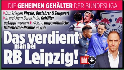 Screenshot Bild.de - Die geheimen Gehälter der Bundesliga - Das kriegen Physio, Busfahrer und Zeugwart - In welchem Bereich die Gehälter gekappt wurden - Welche ungewöhnliche Mitarbeiter-Prämie es gab - Das verdient man bei RB Leipzig!