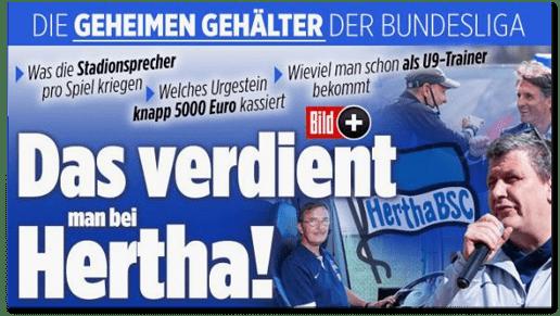 Screenshot Bild.de - Die geheimen Gehälter der Bundesliga - Was die Stadionsprecher pro Spiel kriegen - Welches Urgestein knapp 5000 Euro kassiert - Wieviel man schon als U9-Trainer bekommt - Das verdient man bei Hertha!