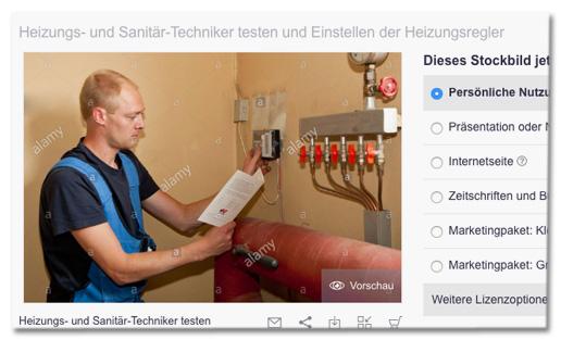 Screenshot Fotoagentur Alamy - Foto des Mannes und die Caption dazu Heizungs- und Sanitärtechniker Testen und Einstellen der Heizungsregler