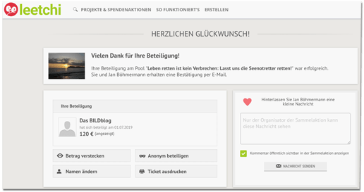 Screenshot der Spenden-Bestätigung