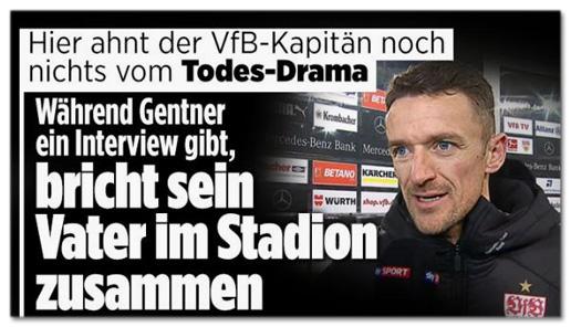 Screenshot Bild.de - Hier ahnt der VfB-Kapitän nicht nichts vom Todes-Drama - Während Gentner ein Interview gibt, bricht sein Vater im Stadion zusammen
