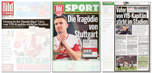Ausriss Bild am Sonntag - Drama in der Bundesliga! Vater von VfB-Kapitän stirbt im Stadion