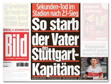 Ausriss Bild-Titelseite - Sekunden-Tod im Stadion nach 2:1-Sieg - So starb der Vater des Stuttgart-Kapitäns