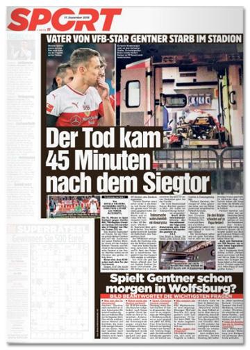 Ausriss Bild-Zeitung - Vater von VfB-Star Gentner starb im Stadion - Der Tod kam 45 Minuten nach dem Siegtor