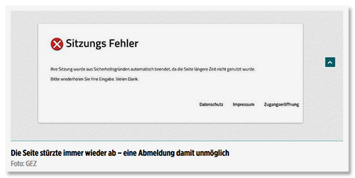 Screenshot Bild.de - Sitzungs-Fehler - Ihre Sitzung wurde aus Sicherheitsgründen automatisch beendet, da die Seite längere Zeit nicht genutzt wurde. Bitte wiederholen Sie Ihre Eingabe. Vielen Dank.