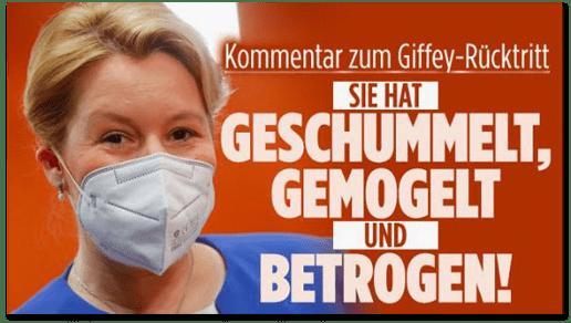 Screenshot Bild.de - Kommentar zum Giffey-Rücktritt - Sie hat geschummelt, gemogelt und betrogen!