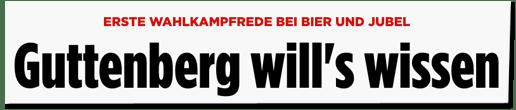 Screenshot Bild.de - Erste Wahlkampfrede bei Bier und Jubel - Guttenberg will's wissen