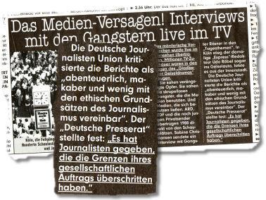 """Die Deutsche Journalisten Unioun kritisierte die Berichte als """"abenteuerlich, makaber und wenig mit den ethischen Grundsätzen des Journalismus vereinbar"""". Der """"Deutsche Presserat"""" stellte fest: """"Es hat Journalisten gegeben, die die Grenzen ihres gesellschaftlichen Auftrags überschritten haben."""""""