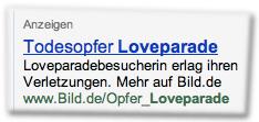Anzeigen: Todesopfer Loveparade — Loveparadebesucherin erlag ihren Verletzungen. Mehr auf Bild.de: www.Bild.de/Opfer_Loveparade