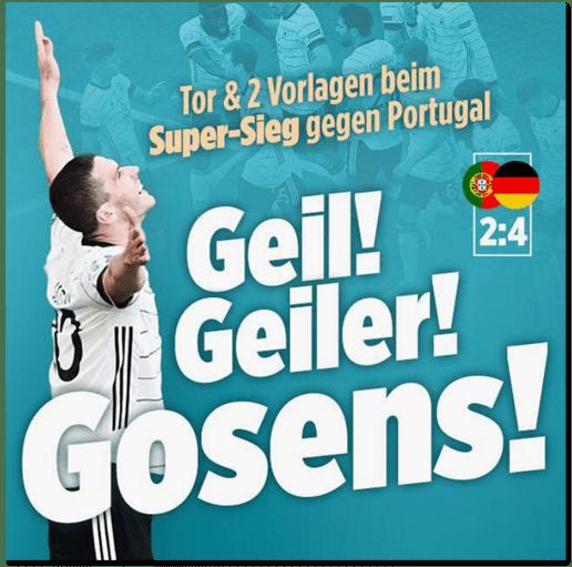 Screenshot Bild.de - Tor und zwei Vorlagen beim Super-Sieg gegen Portugal - Geil! Geiler! Gosens!